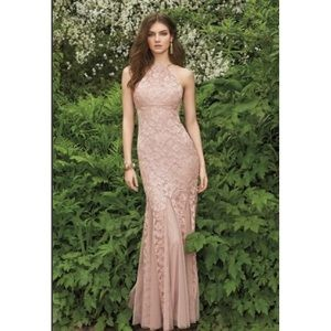 Blush Nude Lace Prom Dress